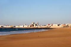 Beach of Cadiz, Spain. Sunny day on the beach of Cadiz, the oldest city of Europe, Spain Royalty Free Stock Photography