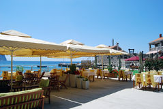 Beach cafe. Cafe on the adriatic beach Stock Images
