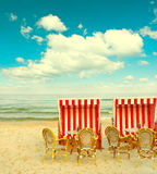 Beach cafe on the Baltic Sea. lanscape with cloudy blue sky Royalty Free Stock Photos