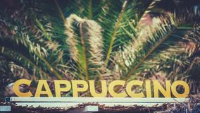 Beach Cafe Cappuccino Sign stock images