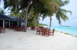 Beach cafe. Cafe on the maldivian beach Royalty Free Stock Images