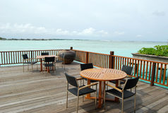 Beach cafe. Cafe on the maldivian beach Royalty Free Stock Image