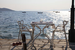 Beach cafe with sunset sea view (Greece). Stock Image
