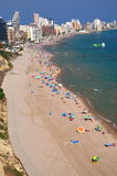 Beach in Calpe, Spain. View of sandy beach of Calpe on Costa Blanca in Spain Stock Image
