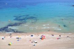 Beach in Calpe, Spain. View of sandy beach of Calpe on Costa Blanca in Spain Stock Photos