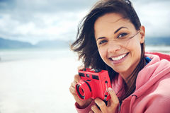 Beach camera fun Royalty Free Stock Image