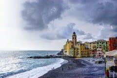 The beach of Camogli in Liguria. A nice and colored town on mediterranen sea in Liguria stock photos