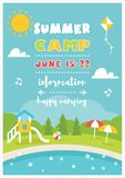 Beach Camp or Club for Kids. Summer Poster Vector Template. Beach Club or Camp for Kids. Summer and Beach Poster Vector Template stock illustration