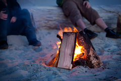 Beach Camp Fire Stock Images