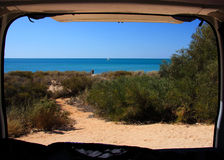 Beach from Camper Van Stock Images