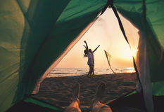 Beach Camping. stock photography