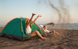 Beach Camping. royalty free stock photography