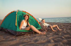 Beach Camping. royalty free stock image