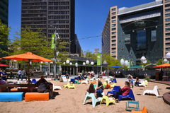 The Beach at Campus Martius in Detroit. Campus Martius in Detroit provides a beach right on Woodward Avenue in the heart of Detroit Royalty Free Stock Image