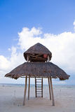 Beach cancun hut. Life guard hut in cancun beach Royalty Free Stock Image