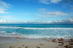 Beach Cancun / Mexico. White sandy beach with blue sky in mexico Royalty Free Stock Photo