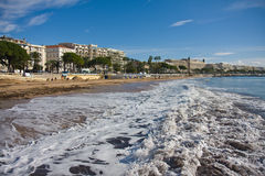 Beach of Cannes. Wave breakers at the beach of Cannes (France stock photo