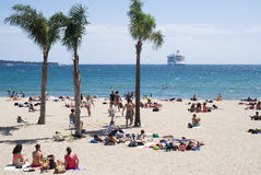 Beach in Cannes, French Riviera stock images