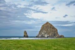 beach cannon haystack rock Arkivbild