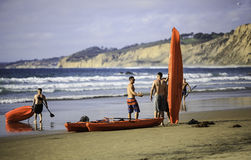 Beach Canoeing Royalty Free Stock Images