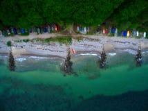 Beach with canoes Stock Photos