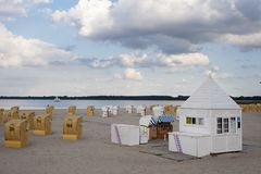 Beach with canopied wicker beach chairs in Travemünde. At the Baltic Sea Stock Images