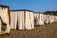 Beach canopies at a luxury resort Stock Image