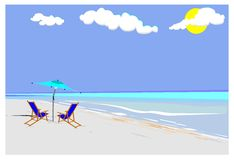 Beach with canvas chairs and umbrella Royalty Free Stock Photography