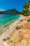 Majorca, beautiful beach landscape of Platja de Formentor. Beach at cap formentor, Mallorca Spain Balearic Islands, Mediterranean Sea Stock Photo