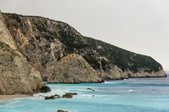 Beach on Cape Lefkatas. With turquoise colored water Royalty Free Stock Image