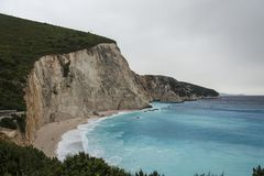 Beach on Cape Lefkatas with turquoise colored water. In Greece Stock Photography
