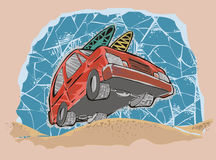 Beach car. A car going to beach royalty free illustration