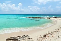 Beach of the Caribbean Sea in Mexico Royalty Free Stock Images