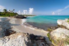 Beach of the Caribbean Sea in Mexico. Tropical beach of the Caribbean Sea in Mexico Stock Image