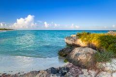 Beach at Caribbean sea in Playa del Carmen. Mexico Stock Photos
