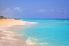 Beach at Caribbean sea in Playa del Carmen. Beautiful beach at Caribbean sea in Mexico Stock Image