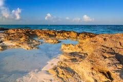 Beach at Caribbean sea in Playa del Carmen. Mexico Stock Photo