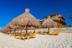 Beach at Caribbean sea. In Playa del Carmen, Mexico Royalty Free Stock Photos