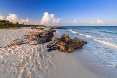 Beach at Caribbean sea in Playa del Carmen. Mexico Royalty Free Stock Image