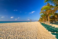 Sunrise on the beach of Caribbean sea. Beach at Caribbean sea in Playa del Carmen, Mexico Royalty Free Stock Images