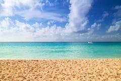 Sunrise on the beach of Caribbean sea. Beach at Caribbean sea in Playa del Carmen, Mexico Stock Photos