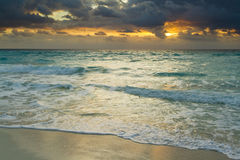 Beach of the Caribbean Sea. Sunset over the beach on Caribbean Sea Royalty Free Stock Image