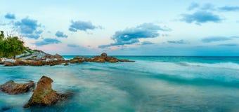 Beach on Caribbean Sea. Yucatan, Mexico. Caribbean Sea at sunset. Yucatan, Mexico stock photo