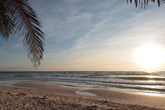 Beach of Caribe at sunrise, Mexico. On the beach of Caribe near to the Tulum in Mexico during sunrise royalty free stock photography