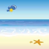 Beach cartoon art vector illustration. On a beach royalty free illustration