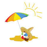 Beach cartoon art vector illustration Royalty Free Stock Photos