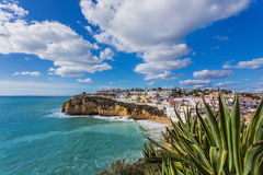 Beach of Carvoeiro in Portugal. Stock Photos