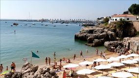 Beach in Cascais stock video footage