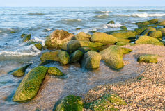 Beach of the Caspian Sea. Derbrnt. Beach of the Caspian Sea. Derbent. Republic of Dagestan, Russia stock photo