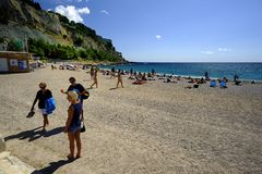 On the beach in Cassis Stock Photo
